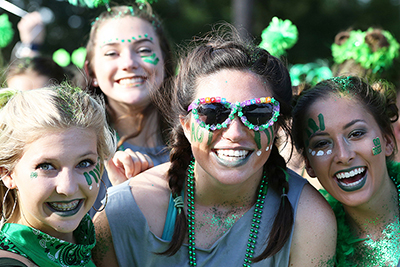 Sorority women smiling while at fun event