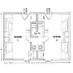 Room dimensions for gamma suite-style room for 4 architecht drawing