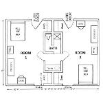 Room dimensions for gamma suite-style room for 2 architecht drawing