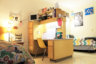 Sorority dorm room with colorful decor
