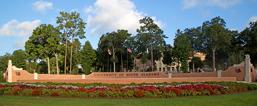 University of South Alabama Campus Sign
