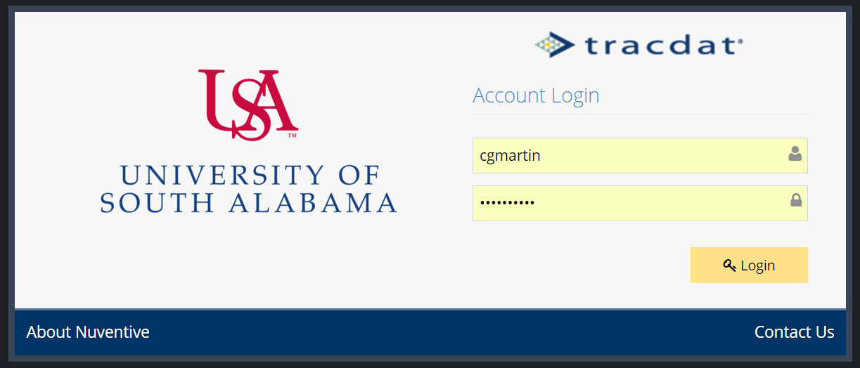 tracdatV login screen