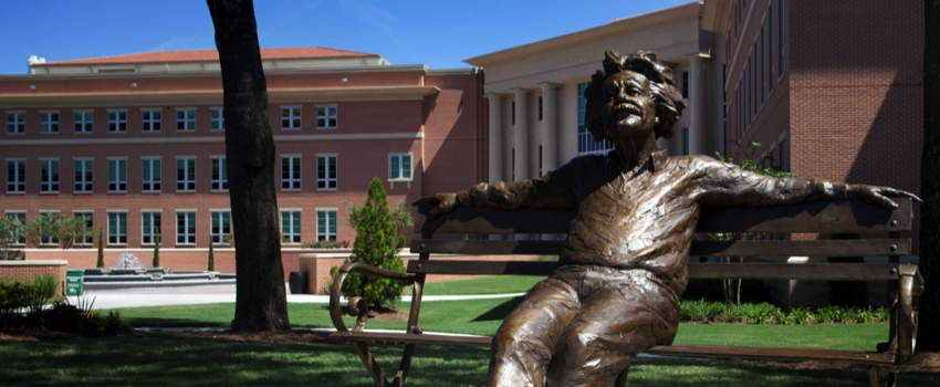 Einstein Statue in front of Shelby Hall