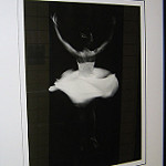 Ballerina dancing in black and white photo