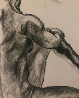 Charcoal image in black and white of body