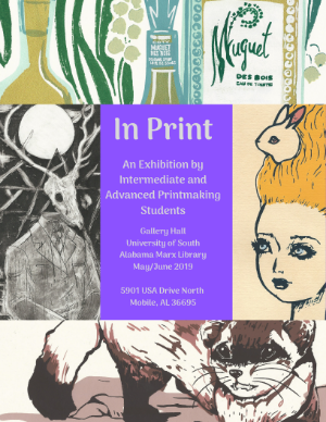 In Print Art with details of show on top