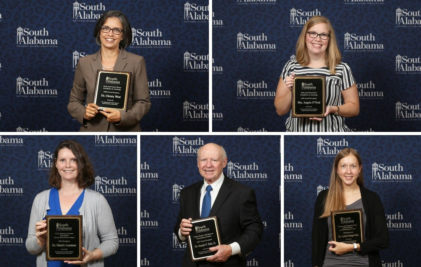 2020 USA Faculty Excellence Award Winners. Top row, L-R: Dr. Christy West, Angela O'Neal. Bottom row, L-R: Dr. Natalie Gassman, Dr. Joseph Hair, Dr. Lesley Gregoricka.