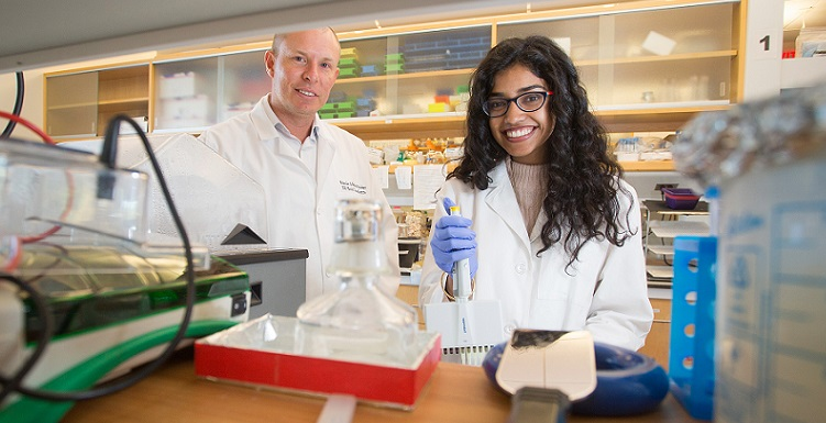 Pooja Revanna, a junior Honors student, works with her mentor, Dr. Peter Sykora, at a USA Mitchell Cancer Institute lab.