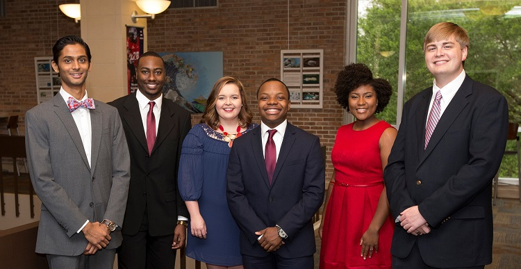 The University of South Alabama student body has elected Student Government Association officers for the 2016-2017 academic year. From left are Darshan Patel, vice president; Marcus Williams, treasurer; Kinsley Knapp, student at large; JuWan Robinson, attorney general; Taylor Davis, chief justice; and Joshua Crownover, president.