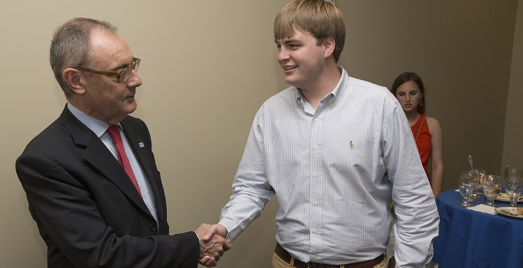 David O'Sullivan, left, the European Union's ambassador to the United States, chats with newly elected Student Government Association President Joshua Crownover on Monday. O'Sullivan spoke to USA faculty, students and staff during a visit to Mobile.