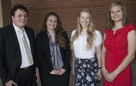 Goldwater Scholar Robert Mines, 2015-2017, is recognized with Goldwater Honorable Mention recipients, from left, Angela McGaugh for 2016, Madison Tuttle for 2016 and Mikayla Walters for 2015. Not pictured is Goldwater Scholar Catherine Zivanov, 2014-2016.