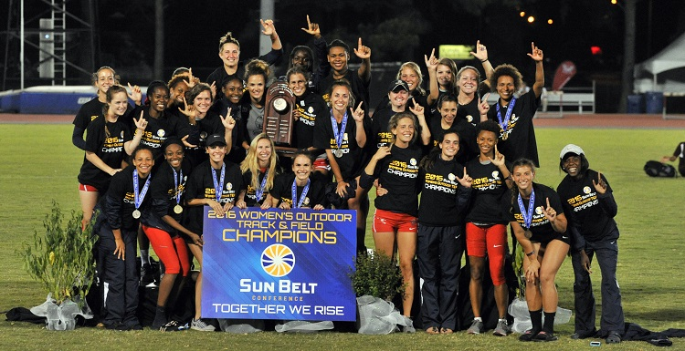 South's women's track and field program won its first outright Sun Belt Conference Outdoor Championship, totaling 132 points. USA shared the crown in 1999 with Louisiana Tech.