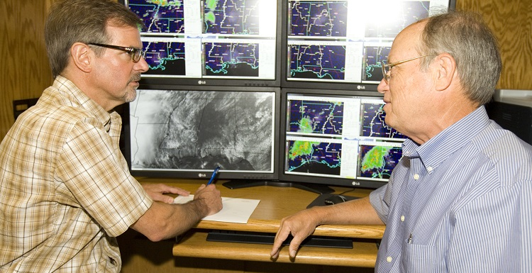 Coastal Weather Research Center Director Pete McCarty and Dr. Keith Blackwell, associate professor of meteorology.