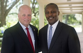 """Kenneth O. Simon, right, a Birmingham attorney, was elected chair pro tempore of the University of South Alabama Board of Trustees, while businessman James H. """"Jimmy"""" Shumock of Mobile was elected vice chair. Arlene Mitchell, a Mobile philanthropist and civic volunteer, not pictured, was elected secretary."""