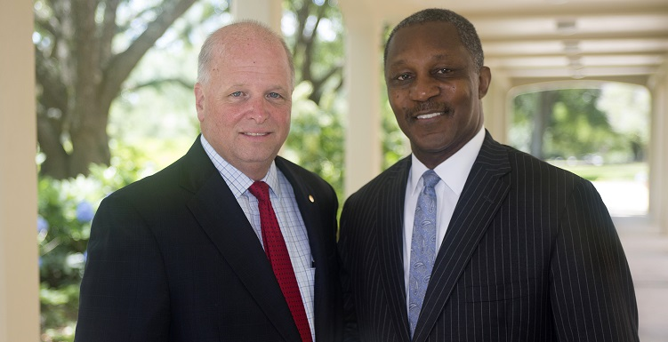 "Kenneth O. Simon, right, a Birmingham attorney, was elected chair pro tempore of the University of South Alabama Board of Trustees, while businessman James H. ""Jimmy"" Shumock of Mobile was elected vice chair. Arlene Mitchell, a Mobile philanthropist and civic volunteer, not pictured, was elected secretary."