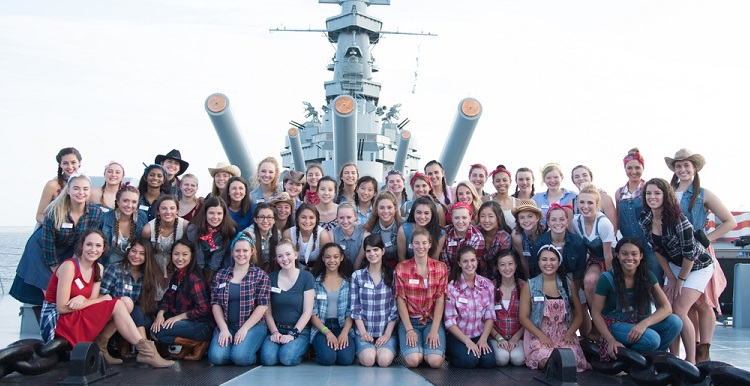 Maire Nakada joins this year's 51 contestants of the Distinguished Young Women scholarship program at USS Battleship Memorial Park in Mobile.