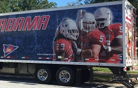 Members of the athletic department staff will be on hand at this trailer to take donations for flood victims from 7:30 a.m.-7:30 p.m., Tuesday through Friday, as well as from 9 a.m.-6 p.m. Saturday, and noon-6 p.m. on Sunday.