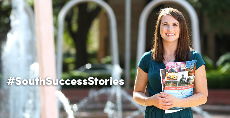 As a student, Emily Jerkins immersed herself in the full South experience. She was treasurer of the Student Government Association, a Jag Pal, a member of the Southerners and a student worker in the Office of Institutional Effectiveness.