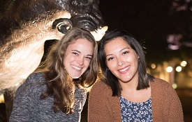 Rebecca Fitz, left, is visiting the United States through a bilateral student exchange program. Patricia Bellido Jara, a South student, attended Fitz's University of Passau in Germany in the spring.