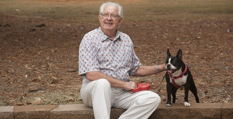 Retired in 1998, Dr. Robert Barrow remains a familiar face around campus, where he takes a daily walk with his wife, Margot; daughter, Audrey; and Bucky the Boston terrier.