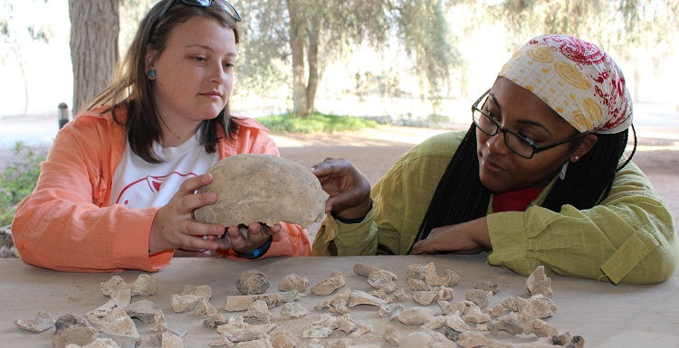Junior anthropology majors Shaunna Goetz, left, and Antonia Carter recently visited the United Arab Emirates to do preliminary research on ancient bones, which have since been sent to South for a long-term study.