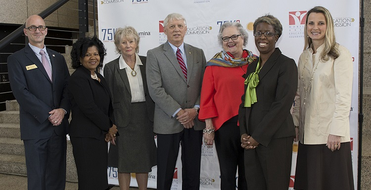 The University of South Alabama joins community partners to announce a 75,000 Degrees Initiative to meet the needs of the region's growing workforce. From left are Bob Charlebois, USA transfer coordinator; Dr. Peggy Bradford, Lumina Foundation; Lynne Chronister, USA vice president for research and economic development; Dr. Tony Waldrop, USA president; Carolyn R. Akers, CEO of the Mobile Area Education Foundation; Chandra Scott, director of strategic outcomes, Mobile Area Education Foundation; and Dr. Andrea Kent, dean of the USA College of Education. data-lightbox='featured'