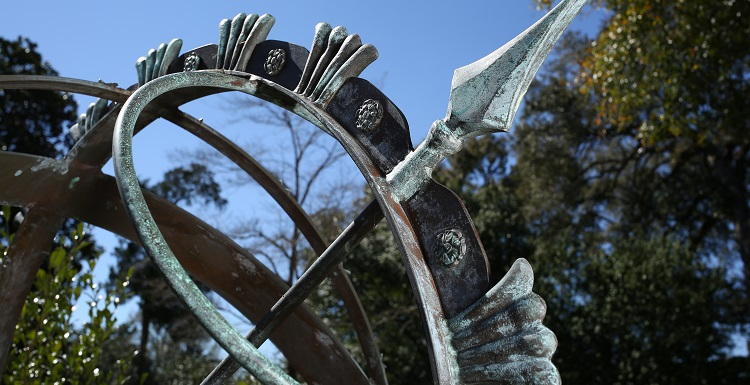 This sculpture on the campus of Spring Hill College honors U.S. Army soldier Stephen E. Karopczyc, a member of the Class of 1965, who was killed in Vietnam. The memorial is one of many spotlighted in the 'War and Remembrance on the Alabama Gulf Coast' on display at South's Marx Library.