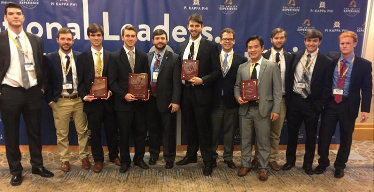 University's Pi Kappa Phi Fraternity was recently honored with several outstanding awards. From left are chapter members Cody Thompson, secretary; Tyler Ellett, warden; Chase Pope, president; Ross McDonald, risk management chair; Alex Dumas, USA alumnus, and Pi Kappa Phi national office staff member; Carson Davidenko, standards board chair; Parker Godwin, philanthropy chair, Andy Hu, treasurer, David Giddens, chaplain; Jacob Abshire, vice president; and Hunter Weygand, historian. data-lightbox='featured'