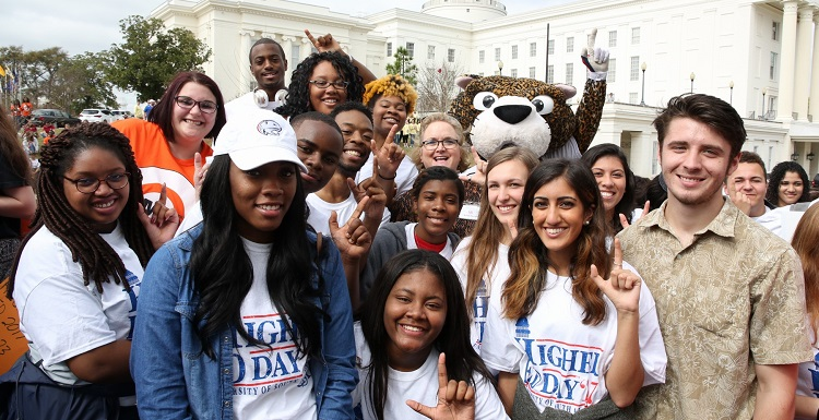 University of South Alabama students traveled to Montgomery on Thursday to show support for public higher education.