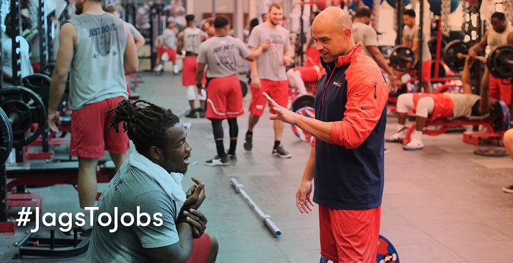 Coach Joey Choron, a 2002 business administration and management graduate of the University of South Alabama, is one of South's strength and conditioning coaches. People who want to pursue his field should have passion and patience, he said.