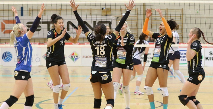 Mechell Daniel, No. 16, plays professional volleyball for OrPo in Finland. At South, the geography major from England made the all-conference team each of her four years with the Jaguars.