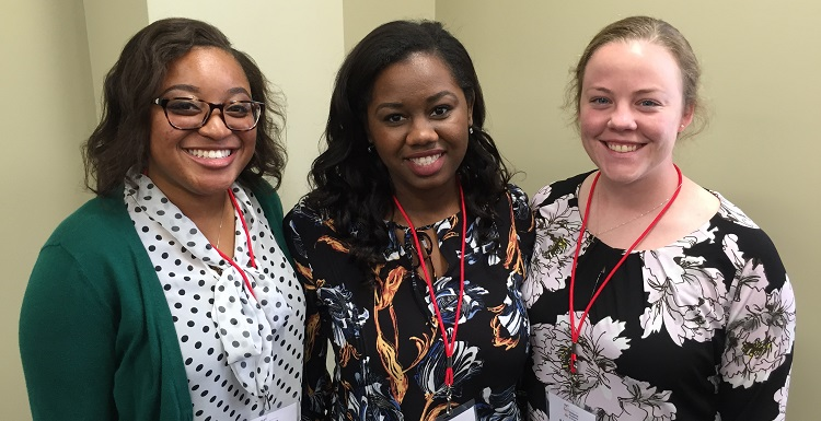 South Alabama students, from left, Anesha Lee, Ebony Johnson and Meghan Sergeant presented papers in the Health Sciences section of this year's Alabama Academy of Science competition. Sergeant won first place and Johnson won second place. The AAS held its 94th annual meeting on South's campus, attended by more than 250 scientific experts, science faculty and teachers, and college and high school students.  data-lightbox='featured'