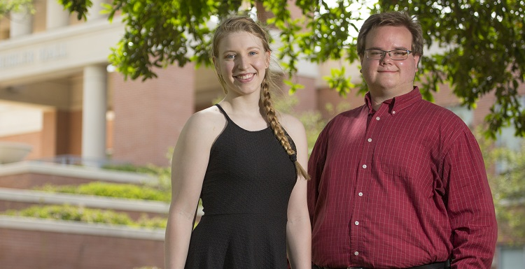 "Senior Madison Tuttle and graduate student Robert ""Bobby"" Faulk  each is the recipient of prestigious National Science Foundation Graduate Research Fellowship. data-lightbox='featured'"