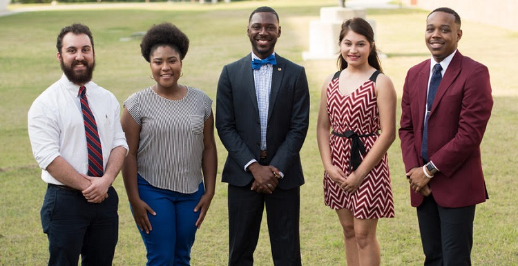 Introducing the newly elected 2017-2018 University of South Alabama SGA officers: From left, Kevin Aria, treasurer; Taylor Davis, chief justice; Carl A.Thomas, president; Elizabeth Hernandez, vice president; and Joshua Robertson, attorney general.