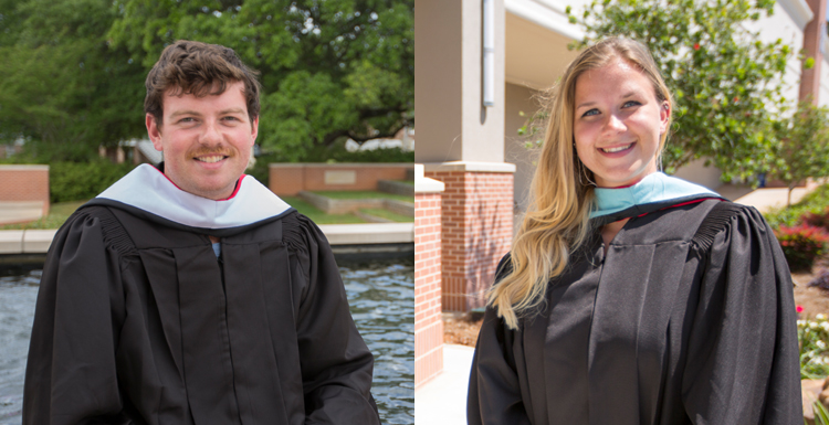 Jacob Blandford and Martha Marie Engeling will earn their master's degrees in two new programs, marine conservation and resource management and sports management, respectively.