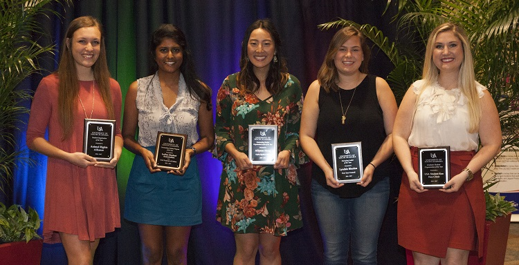 USA's Office of Student Activities recognizes students for outstanding community service during the annual Student Organization Awards Banquet. From left are Shelby Guidry, Animal Rights Alliance, Student Organization of the Year; Veena Danthuluri, Indian Student Association, Program of the Year; Allyson Heng, Student Organization Leader of the Year; Lyndsie Rhoden, Emerging Leader of the Year; and Kellie Caddell, Student-Run Free Clinic, Graduate Student Organization of the Year.