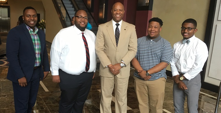 University of South Alabama Collegiate 100 members attend the 31st Annual 100 Black Men National Conference held recently in New Orleans. From left are Cornelius Madison, senior mechanical engineering major from Montgomery; Broderick Morrissette, junior information technology major from Prichard; Dr. Michael Mitchell, vice president for student affairs and adviser of Collegiate 100; Myles Payton, sophomore communication major from Montgomery; and Adreun Malone, senior professional health sciences major from Memphis, Tenn.