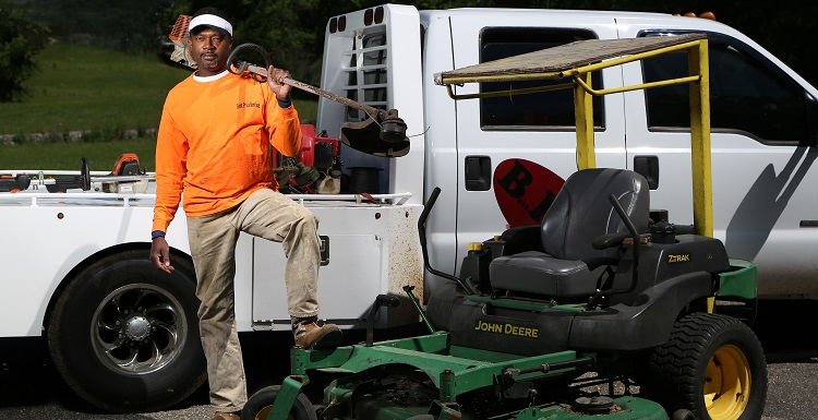 Anthony Richardson has been in business for 28 years. While his grass-cutting services account for the lion's share of his annual revenue, Richadson said the work is seasonal, leaving a four-month winter lull that has forced him to diversify his offerings.  data-lightbox='featured'
