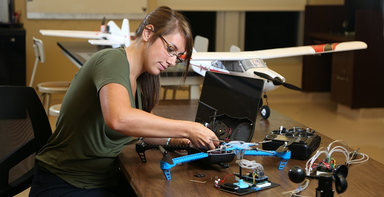 Lisa Schibelius, a master's student in mechanical engineering, is the lead person on the FAST lab's quadrotor project, which gathers atmospheric data along the Gulf Coast.