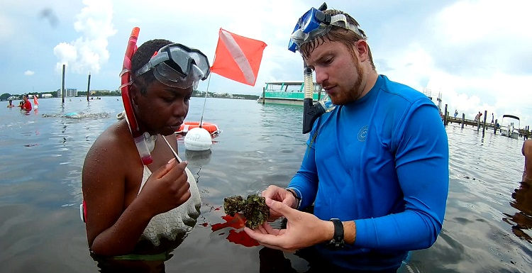 Autumn Baxter, Davidson High School, listens as Chris Flight of the Dauphin Island Sea Lab talks about what she found while snorkeling in the grass beds at St. Andrews Park in Florida.