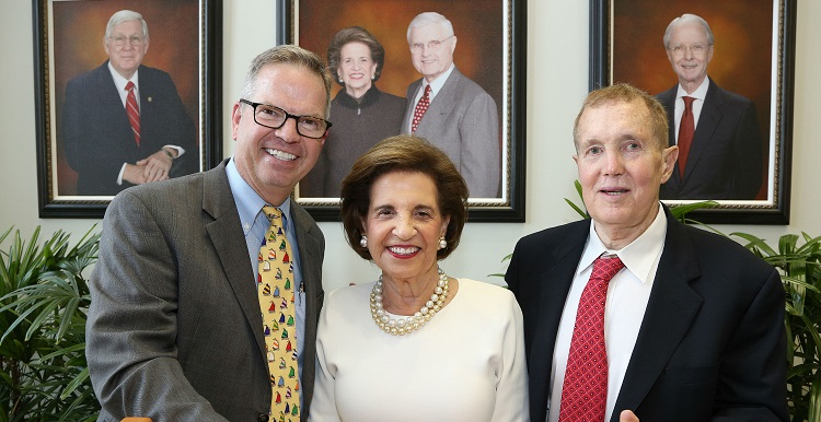 "Dr. Arthur E. ""Art"" Frankel, right, has been named the inaugural holder of the Arlene and Mayer Mitchell Chair in Medical Oncology. Frankel is joined by Arlene Mitchell and Dr. Michael A. Finan, director of MCI."