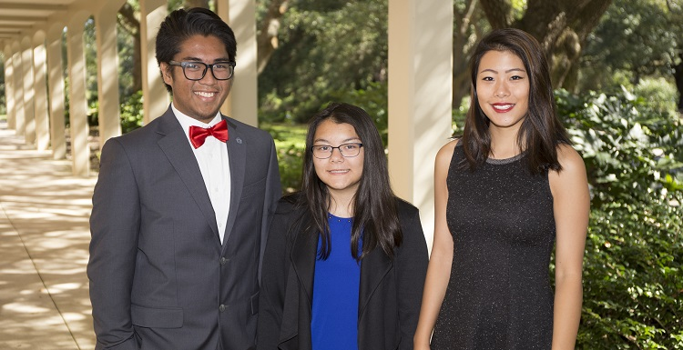 This year's University of South Alabama Board of Trustees Scholar, Ada Chaeli van der Zijp-Tan of Madison, Ala., is flanked by 2016 recipient Christian Manganti of Gulfport, Miss., and 2015 awardee Shirley Zhang of Vestavia Hills, Ala.  The USA Board of Trustees Scholarship program recognizes the most academically talented student in each incoming freshman class.