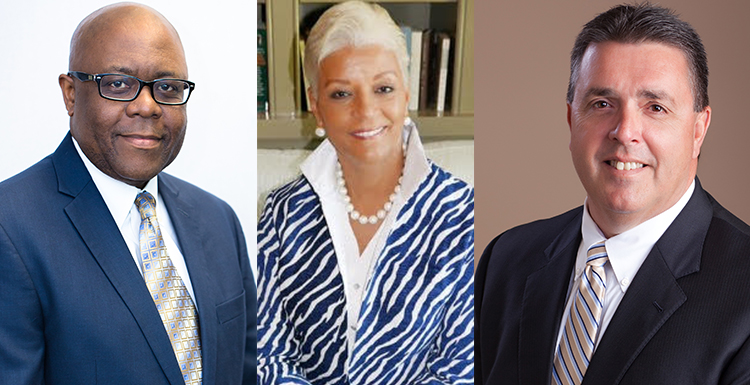 Gov. Kay Ivy appointed three new members to the USA Board of Trustees. They are, from left, Lenus M. Perkins of Birmingham, director of programs for Bhate Environmental Associates; Margie Malone Tuckson of Sandy Springs, Ga., chief financial officer for Tuckson Health Connections; and William Ronald