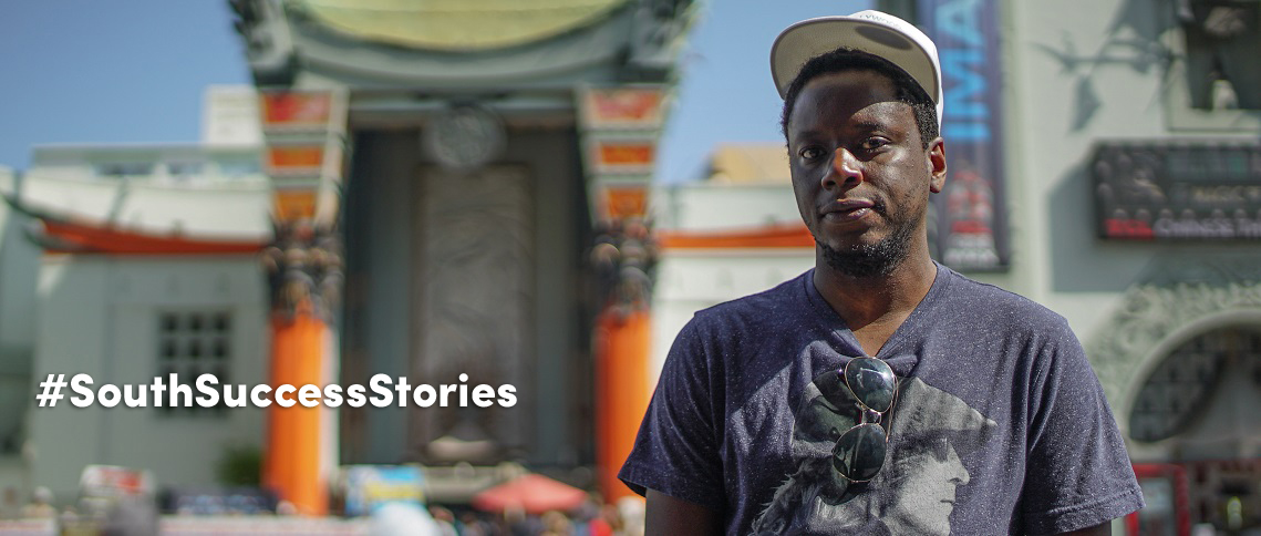 Tinashe Nyatanga, '12, bought a one-way ticket to Los Angeles after graduation to break into the film industry. Nyatanga, here in front of Grauman's Chinese Theatre just a few blocks from his home, is honing his craft with the hopes of directing full-length movies.
