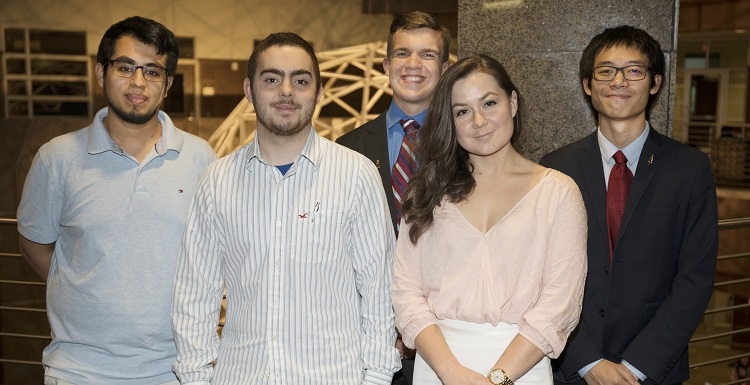 USA Tau Beta Pi officers, from left, Luis Rodriguez Reveles, recording secretary; Tyler Tow, corresponding secretary; Caleb Barlow, vice president; Kelsey Ferrill, cataloger; and Phiwat Klomkaew, president. data-lightbox='featured'