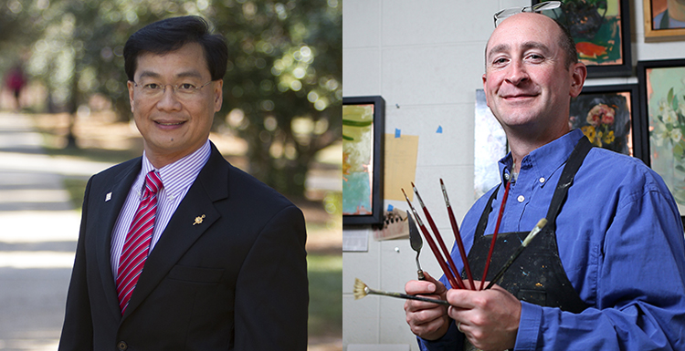 Dr. Romulus Godang, left, professor of physics, and Benjamin Shamback, professor of visual arts, were selected respectively as Phi Kappa Phi's scholar and artist of the year.