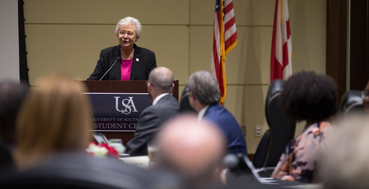 Gov. Kay Ivey temporarily chaired Thursday's University of South Alabama Board of Trustees meeting. She also toured campus and met with administration, student, faculty and alumni leaders.