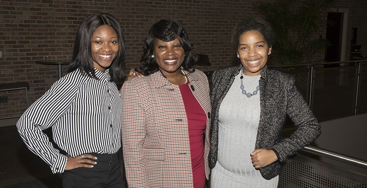 The Office of Multicultural Student Affairs launched the iLead Leadership Institute, an eight-week program to build and strengthen student leaders. From left are Maniysha Marshall, iLead Class of 2017 president; Dr. Valerie James, founder of Vision Spot Consulting, LLC., which managed and facilitated the first iLead Leadership Institute; and Deja Thompson, vice president of iLead.