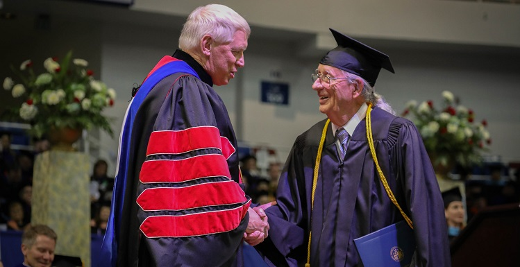 The graduates Saturday included 84-year-old Mobile resident Murdoch Newton Campbell, who earned a bachelor's degree in Interdisciplinary Studies – Applied Sciences concentration. Campbell is believed to be the oldest graduate in South's 54-year history.