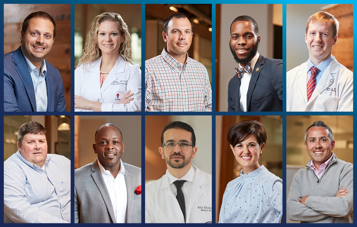 Mobile Bay Magazine's 40 under 40 selections include ten leaders who are South alumni or employees. Clockwise from top left: James Evans, Melanie Rose, Kevin Jackson, Laventrice Ridgeway, Lee Grimm Jr., Harry Brislin IV, Jennifer Conrad, Moh'd Khushman, Joseph Jermaine Roberson and Benjamin Hoeb.